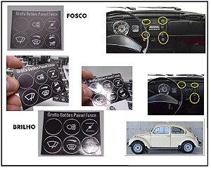 Kit Aplique Grafia dos Botões / Interruptores - Painel Fusca 70 a 80