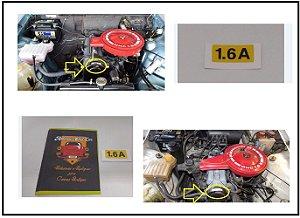 Adesivo 1.6A - Capa Correia Chevette - Adesivo identificação do Motor 1.6 a Álcool
