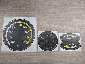 Kit de Apliques Painel de Instrumentos Chevette 73 a 75 - ( Velocímetro Amarelo + Relógio + TEMP e COMB)