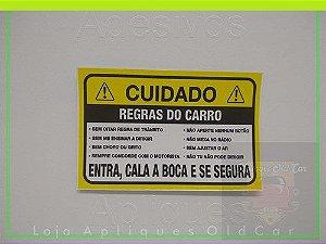 ADESIVO CUIDADO! - REGRAS DO CARRO - COMÉDIA COM OS PASSAGEIROS - (Pequeno)