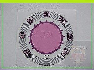 APLIQUE VELOCÍMETRO FUSCA  (1970 a 1975) - 140KM - PADRÃO VDO - BRANCO ROSA c/ LILÁS
