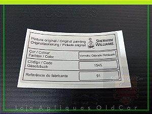 ADESIVO CÓDIGO TINTA / COR  PINTURA - LINHA VOLKSWAGEN - CATÁLOGO 2