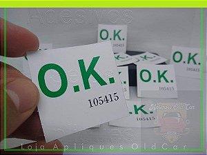 ADESIVO OK (VERDE) CAPELINHA MOTOR FUSCA - FUSCA ATÉ 79 (SELO OK n. 105415)