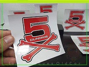 Adesivo Osso 5 Cilindros - Decorativo Carros c/ Motor 5 Cilindros - (Tamanho Pequeno)