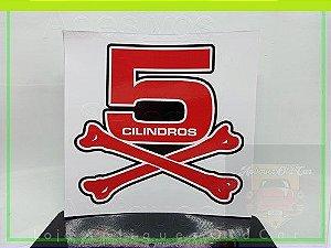 Adesivo Osso 5 Cilindros - Decorativo Carros c/ Motor 5 Cilindros - (Tamanho Grande)