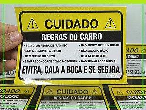 ADESIVO CUIDADO! - REGRAS DO CARRO - COMÉDIA COM OS PASSAGEIROS - (MÉDIO 16,5cm_x_11,5cm)