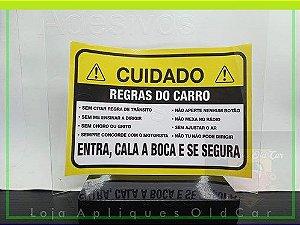ADESIVO CUIDADO! - REGRAS DO CARRO - COMÉDIA COM OS PASSAGEIROS - (GRANDE 23cm_x_16,5cm)