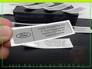 ADESIVO FORD ARGENTINA S.A - ETIQUETA ESPELHADA APLICAÇÃO MINI-FRENTE