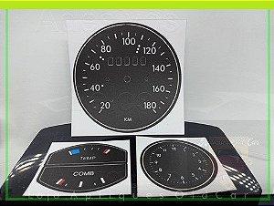 Kit de Apliques Painel de Instrumentos Chevette 73 e 74 - (Velocímetro + Relógio + TEMP e COMB)