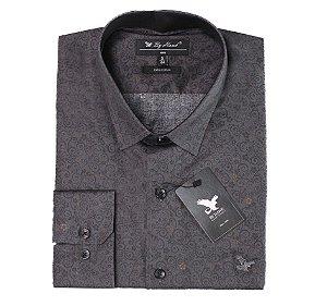 Camisa Manga Longa Cinza Escura Cód.7555