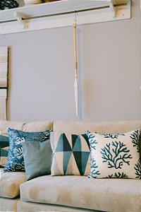 Kit de 4 Almofadas em Estampas Variadas Azul e Branco