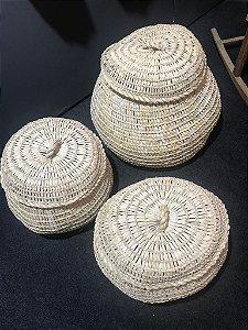 Trio cesto de palha Natural