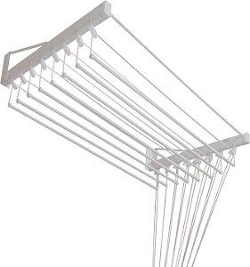 Varal de Parede Individual com 1,20 metro x 10 Varetas em Alumínio