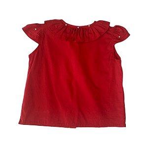 UPIA bata algodão vermelha c pérolas 1 ano