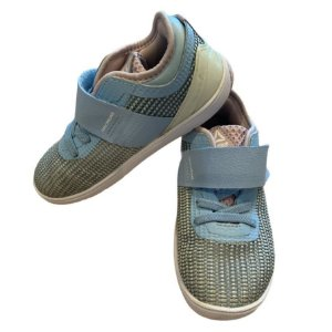 REEBOK tênis azul det rosa velcro USA 8 BRA 24