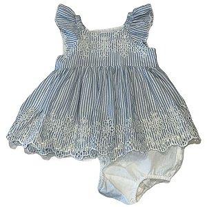 BABY GAP vestido c calcinha azul listras barra bordado 3-6 meses