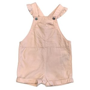 H&M jardineira short rosa 6-9 meses