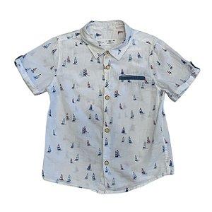 ZARA camisa social mg curta branca barcos 2-3 anos