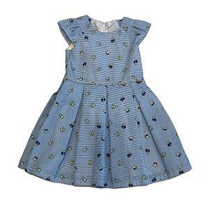 vestido listras azuis e pérolas 3 anos