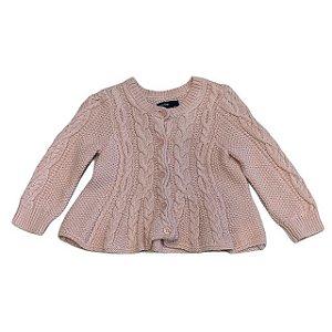 BABY GAP casaco de linha rosa com tranças 6-12 meses