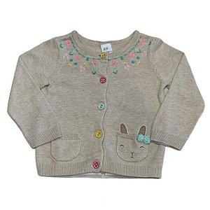 H&M casaco de linha bege bordado flores botões coloridos aplicação coelho 6-9 meses