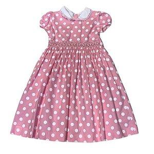 MAISON BABY Vestido casinha de abelha rosa com pois branco 4 anos + par de laços