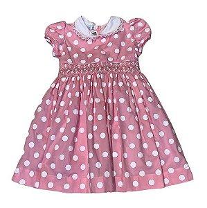 MAISON BABY vestido casinha de abelha rosa com pois branco 1 ano + par de laços