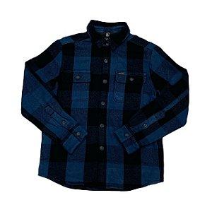 VOLCOM camisa social flanela acolchoada xadrez azul 10 anos