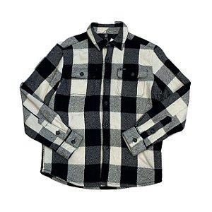 VOLCOM camisa social flanela acolchoada xadrez preto 12 anos