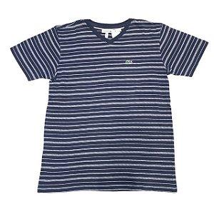 LACOSTE camiseta marinho listras brancas gola V 12 anos