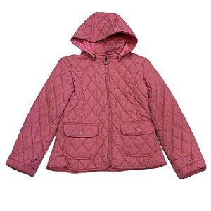GAP KIDS casaco nylon matelassê c capuz rosa 10 anos