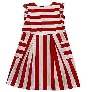 JACADI vestido algodão branco listras vermelhas 10 anos