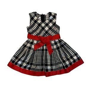 BONNIE JEAN vestido de lá xadrez preto e branco laço vermelho 3 anos