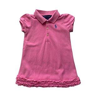 RALPH LAUREN vestido polo rosa babados 9 meses