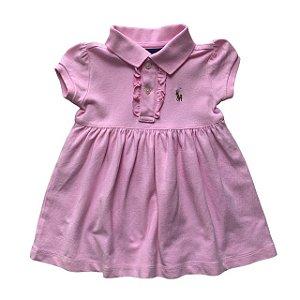 RALPH LAUREN vestido polo rosa babados nos botões 9 meses