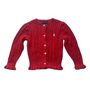 RALPH LAUREN casaco de linha vermelha 18 meses
