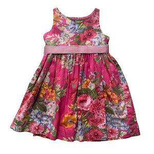 RALPH LAUREN vestido algodão floral cinto listras 12 meses