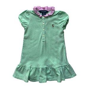 RALPH LAUREN vestido polo verde gola xadrez rosa 12 meses
