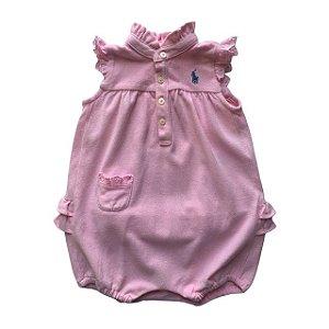 RALPH LAUREN pimpao rosa manga bordado inglês 6 meses