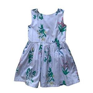 vestido algodão branco estp flores 2-3 anos