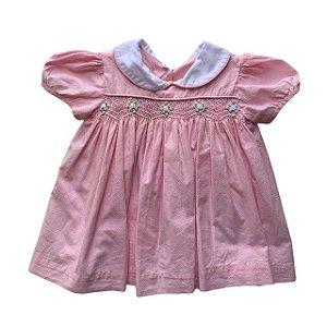 vestido casinha de abelha c pérola 3-6 meses rosa c pois