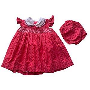 UPIÁ vestido casinha de abelha c calcinha rosa pois vermelho 6 meses