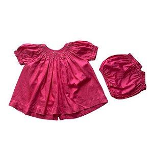 TROUSSEAU vestido casinha de abelha pink c calcinha P 3 meses