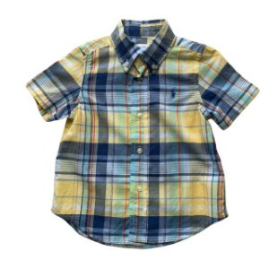 RALPH LAUREN camisa social mg curta xadrez amarelo e azul 18 meses