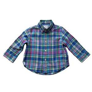 RALPH LAUREN camisa social xadrez azul e rosa 12 meses