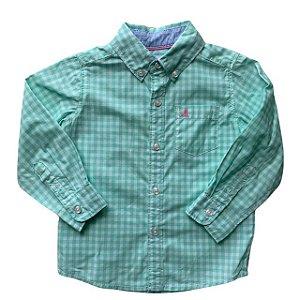 CARTERS camisa social xadrez verde barco bordado rosa 18 meses