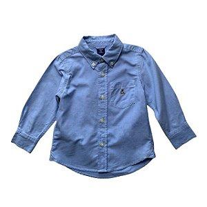BABY GAP camisa social azul BEAR bordado 2 anos