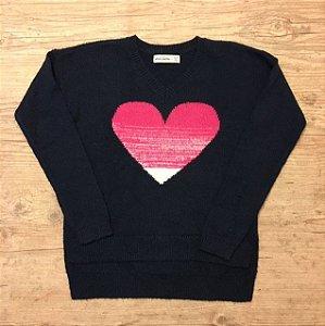 ABERCROMBIE casaco lã marinho coração rosa 11-12 anos