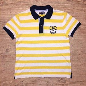 LION OF PORCHES camisa polo listras amarelo e branco 9-10 anos