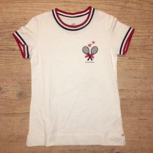 LION OF PORCHES camiseta branca raquetes 7-8 anos